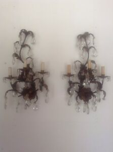 C 1890 Old Crystal Prisms Baccarat Gold Gilded Sconces French 19th Century