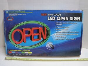 7 Color Led Open Store Sign W Remote Adjustable Animation Effects Pro lite Usa
