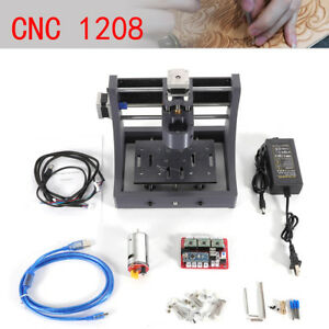 1208 Cnc Router Wood Engraving Pcb Milling Machine Us Plug 3pc Drill Bits 3 Axis