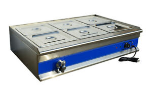 Intbuying Commercial Soup Food Warmer Bain Marie Canteen Buffet 6 well 110v