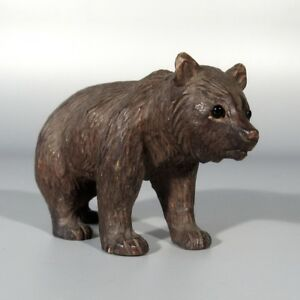 Authentic Antique Swiss Bear Bear Cub Black Forest Style Hand Carved Wood