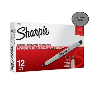 Sharpie Ultra Fine Black Markers San37001 12 pack 76 Dozen Total