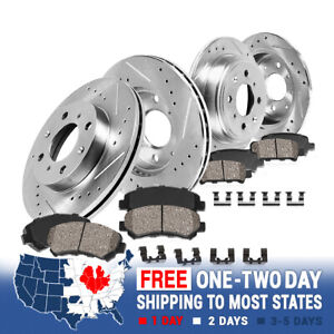Front Rear Drill Slot Brake Rotors And Ceramic Pads For 1993 1997 Accord Cl