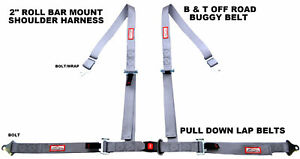 Buggy Seat Belt 4 Point 2 Harness Grey 30 Colors To Choose From
