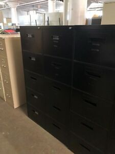 Lot Of 2 5dr Legal Size File Cabinets By Steelcase Office Furn W Lock