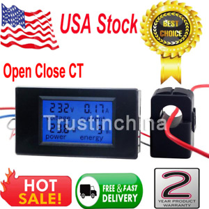 Digital Ac 100a Power Kwh Watt Meter Volt Amp Voltmeter Ammeter Open Close Ct