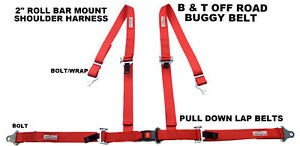 Buggy Seat Belt 4 Point 2 Harness Red 30 Colors To Choose From
