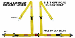 Buggy Belt Pull Up Roll Bar Mount Seat Belt 4 Point 2 Racing Harness Yellow