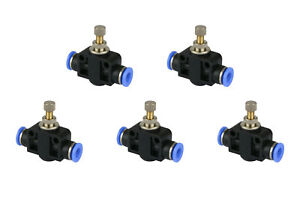 5x Temco Pneumatic Speed Flow Control Valve Straight 1 4 Od Air Push In Fitting