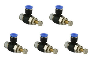 5x Temco Pneumatic Speed Flow Control Valve Elbow 1 4 Od Air Push In Fitting