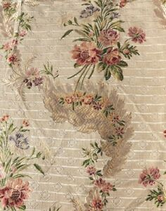 Antique French 18thc Rose Silk Metallic Brocade Fabric Home Dec 3 Pieces