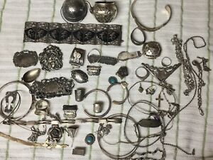 Estate Sterling Silver Scrap Lot Jewelry And Other Items About 380 Grams