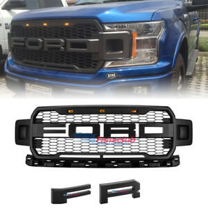 Black 2018 F150 Raptor Style Front Grille Upper Grill For Ford F 150 With Led