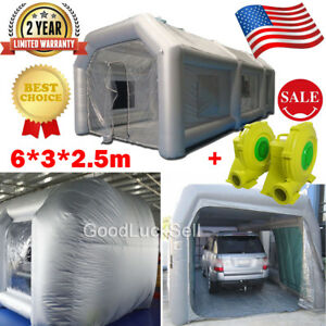 19ft Inflatable Spray Paint Booth Custom Tent Car Workstation 6 3 2 5m 2 Blowers
