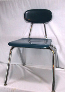 Vintage Melsur Teal Blue And Chrome Mid Century School Chair Eames