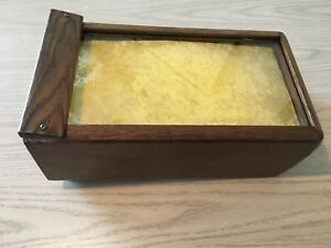 Vintage antique Oak Watch Jewelry Or Misc Glass Top Display Case 4 Sliding Tray