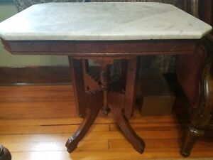 Antique Victoria Parlor Table With Marble Top