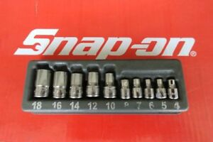 Snap On Tools 1 4 3 8 Drive 10 Pc Torx Shallow Socket Set 210afley