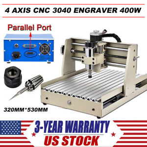 4 Axis 3040 Cnc Router Engraver Engraving Cutter Desktop Cutting Parallel Port