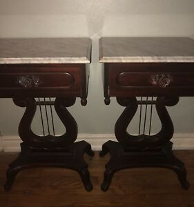 Antique Marble Top Mahogany End Tables