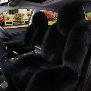 2pcs Black Car Suv Wool Cashmere Seat Cover Warm Sheepskin Comfortable Protector