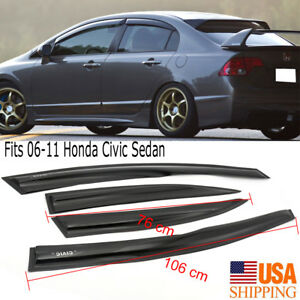 Fits 2006 2011 Honda Civic Sedan Slim Style Acrylic Window Visors 4pcs Set