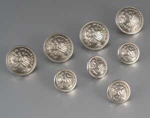 Old French Firemen Buttons Sapeurs Pompiers Signed S B C Grenoble 8 Pcs