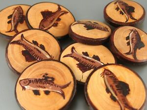 Old French Hand Painted Wooden Buttons Fish Fishing 9 Pcs