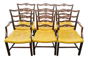Set Of 6 Antique 19th C English Carved Mahogany Dining Chairs 2 Arms 4 Sides