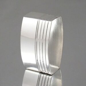 Vintage French Art Deco Silver Plate Napkin Ring Oval Shape