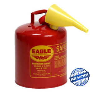 Red Galvanized Steel Type Gasoline Safety Gas Can 5 Gallon Capacity Funnel Eagle