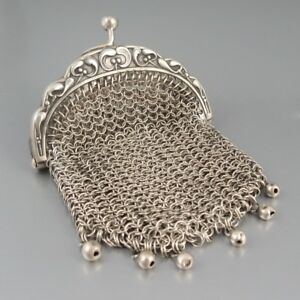 Antique French Art Nouveau Sterling Silver Mesh Purse Mistletoe Beads