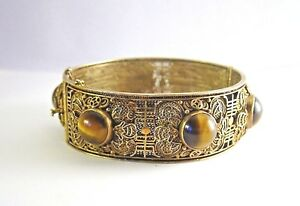 Antique Chinese Filigree Silver Gilt Cuff Bracelet With 6 Tiger S Eye Cabochons