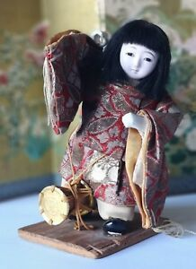 Vintage Japanese Gofun Doll As Butterfly Dancer With Drum Early 1900 S