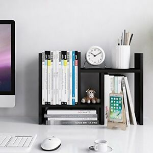 Desktop Organizer Office Storage Rack Adjustable Wood Display Stand Shelf Black