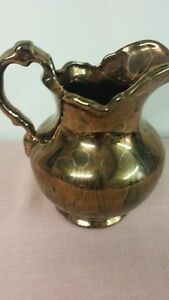 6 Gold Gilt Over Glass Pitcher