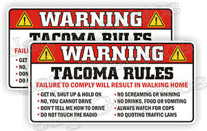 Tacoma Rules Warning Stickers Funny Safety Instructions Labels Decals Taco Sauce