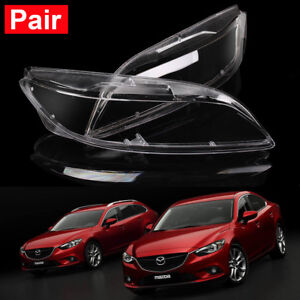 For Mazda 6 2003 2004 2005 2006 2007 2008 Headlight Headlamp Len Cover Pair New
