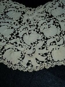 Antique Handmade Ivory Lace Crocheted Knit Collar W Hook And Eye 20 Halfcircle