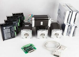 Us Freeship 4axis Nema 34 Stepper Motor 1600oz in 10 5n m Dual mach Controller