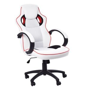 White High Back Computer Gaming Chair Executive Desk Racing Style Bucket Seat