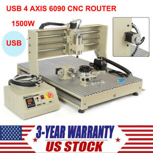 4 Axis 6090 Usb Port 1500w Cnc Router Engraver Print Engraving Cutting Machine