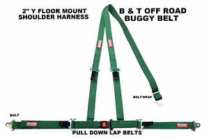 Buggy Off Road 2 Seat Belt 3 Point B t Y Harness All Bolt Harness Green