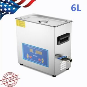 6l Stainless Steel Digital Industry Heated Ultrasonic Cleaner Heater W timer Usa