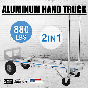 New Aluminum Hand Truck 2 In 1 Convertible Folding Dolly Platform Cart 880lbs