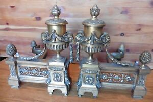 Andirons Brass French Gilded Fireplace Ram Horned Sheep Heads Antique Victorian