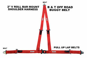 Racing Harness 3 Point 2 V Bolt In Seat Belt Off Road Buggy Red Racerdirect