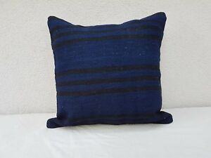 Blue Cottage Pillow Turkish Wool Kilim Pillowcase Ethnic Cushion Cover 20 X 20