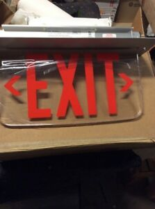 Red Led Emergency Exit Light Sign Ceiling Edge Lit Battery Backup Alum Dual H4
