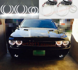 For Dodge Challenger 08 14 Car Headlight Fog Lights Ccfl 6 Halo Rings Angel Eyes
